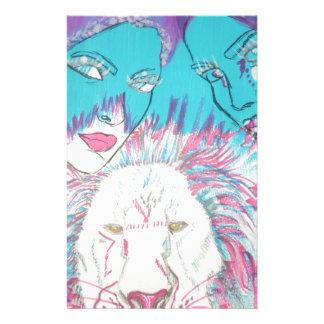 Blaue und rosa Löwen Briefpapier