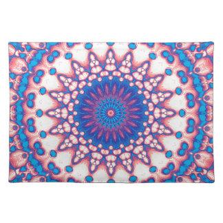 Blaue und rosa Mandala Tischset