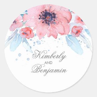 Blaue und rosa Watercolor-Blumen-elegante Hochzeit Runder Aufkleber