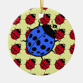 Blaue und rote Marienkäfer Rundes Keramik Ornament
