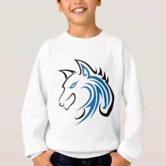 Blaue und schwarze Ohr-Wolf-Kopf-Kontur Sweatshirt