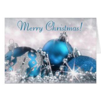 Blaue und silberne frohe Weihnacht-Gruß-Karte Karte