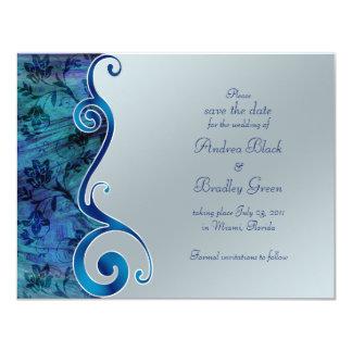 Blaue und silberne Reflexions-Save the Date Karte 10,8 X 14 Cm Einladungskarte
