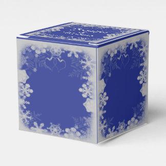 Blaue und silberne Schneeflocke-Hochzeit Geschenkschachteln