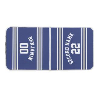 Blaue und silberne Sport-Jersey-Name-Zahl Beer Pong Tisch