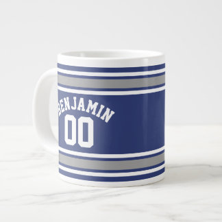 Blaue und silberne Sport-Jersey-Name-Zahl Extragroße Tasse