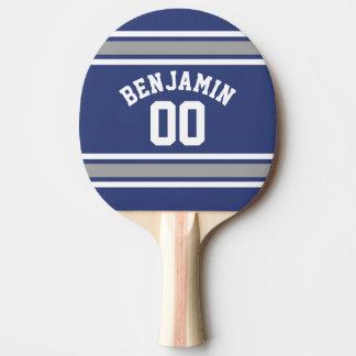 Blaue und silberne Sport-Jersey-Name-Zahl Tischtennis Schläger