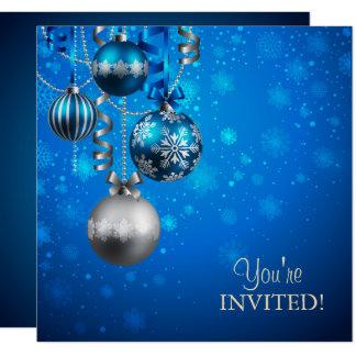 Blaue und silberne Unternehmensfeiertags-Party Karte