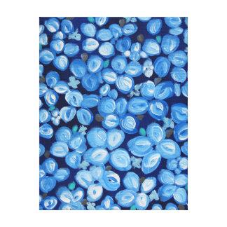 Blaue und weiße abstrakte mit Blumenmalerei Leinwanddruck