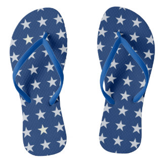 Blaue und weiße amerikanische Sterne drehen Flip Flops