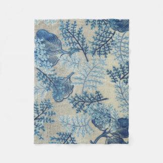 Blaue und weiße antike Webart-Blumendecke Fleecedecke