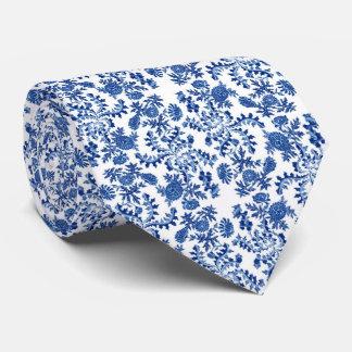 Blaue und weiße Blumendruck-Krawatte Krawatten
