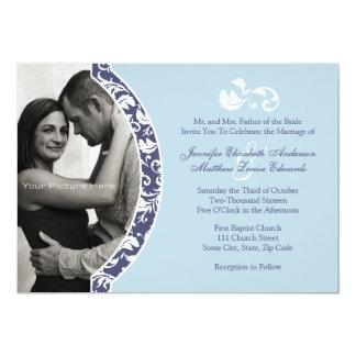 Blaue und weiße Damast-Foto-Hochzeits-Einladung 12,7 X 17,8 Cm Einladungskarte