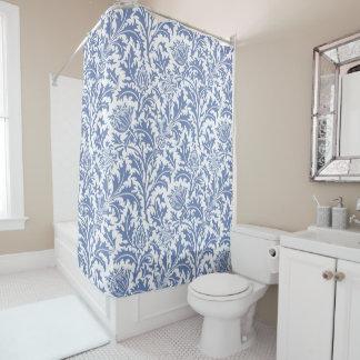 Blaue und weiße Distel-Gewohnheits-Farbe William Duschvorhang