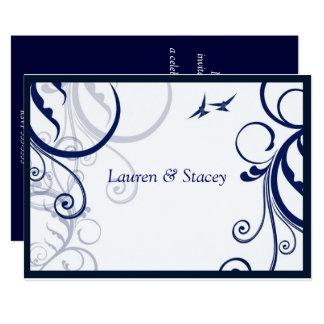 Blaue und weiße, elegante Hochzeits-Einladung Karte