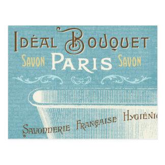 Blaue und weiße französische Badewanne Postkarte