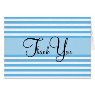 Blaue und weiße gestreifte danken Ihnen Karte