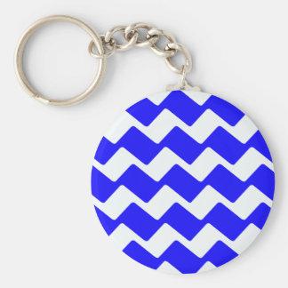 Blaue und weiße gewellte Sparren Schlüsselanhänger