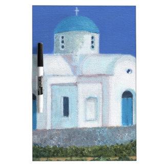 Blaue und weiße griechische zypriotische Kirche Trockenlöschtafel