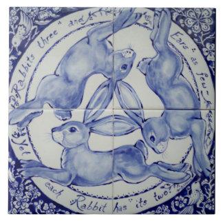 Blaue und weiße Kaninchen-Hase-Trio-Vogel-Fliese Keramikfliese