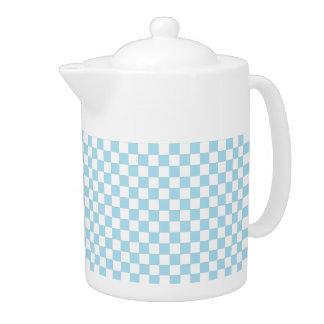 Blaue und weiße karierte Muster-Teekanne