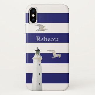 Blaue und weiße klassische Streifen mit Leuchtturm iPhone X Hülle