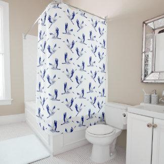 Blaue und weiße Kräne Duschvorhang