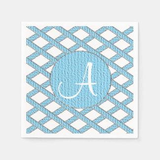 Blaue und weiße kreuzweise Monogrammservietten Serviette