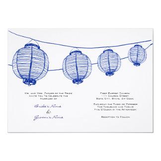 Blaue und weiße Laternen, die Einladung Wedding