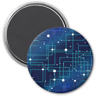Blaue und weiße Leiterplatte Runder Magnet 7,6 Cm