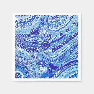 Blaue und weiße Ming Art gemustert Serviette