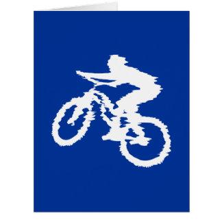Blaue und weiße Mountainbike Riesige Grußkarte