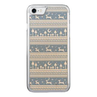 Blaue und weiße Rotwild-Familien-Moonlit Wald Carved iPhone 8/7 Hülle