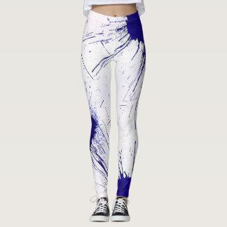 Blaue und weiße Spritzer-Farbe Leggings