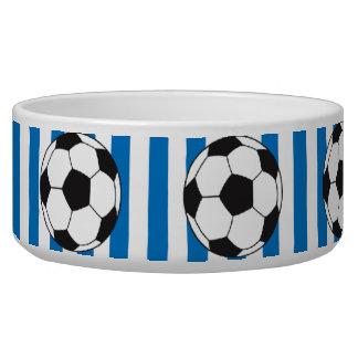 Blaue und weiße Streifen mit Fußbällen Hundenäpfe