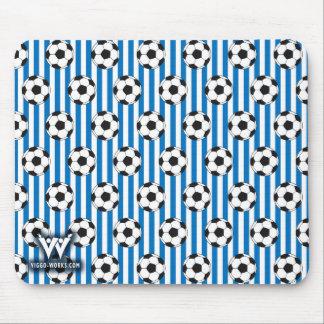 Blaue und weiße Streifen mit Fußbällen Mousepads