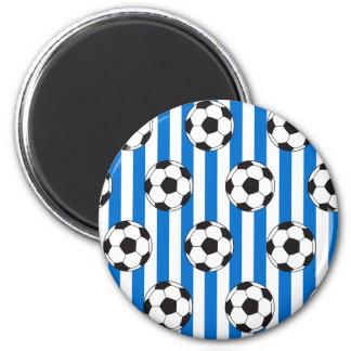 Blaue und weiße Streifen mit Fußbällen Runder Magnet 5,7 Cm