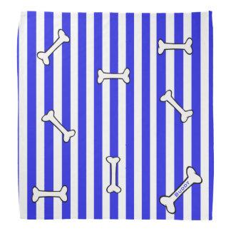 Blaue und weiße Streifen mit Knochen-HundeBandana Kopftuch