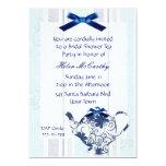 Blaue und weiße Tee-Party-Brautparty-Einladung