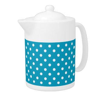 Blaue und weiße Tupfen-Muster-Teekanne