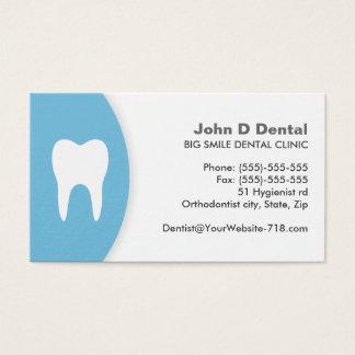 Blaue und weiße zahnmedizinische visitenkarte