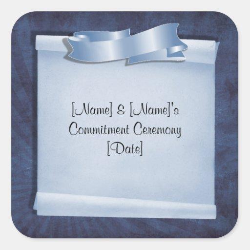 Blaue Verpflichtungs-Zeremonie-Gewohnheits-Aufkleb Quadratsticker