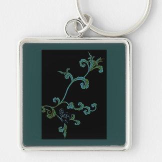 Blaue verzierte Blume Schlüsselanhänger