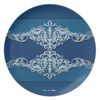 Blaue Verzierungen Teller
