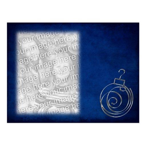 Blaue Verzierungs-Schablone Postkarte