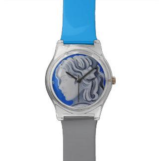 Blaue viktorianische Dame Cameo Wristwatch Uhr