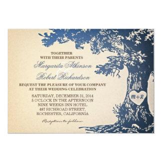 blaue Vintage alte Eichenbaum-Hochzeitseinladungen 12,7 X 17,8 Cm Einladungskarte