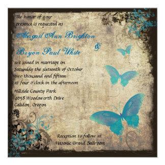 Blaue Vintage Schmetterlings-Hochzeits-Einladung