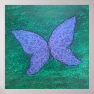 Blaue violette lila grüne Flügel des Poster