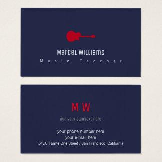 blaue Visitenkarte des Musikers mit roter Gitarre